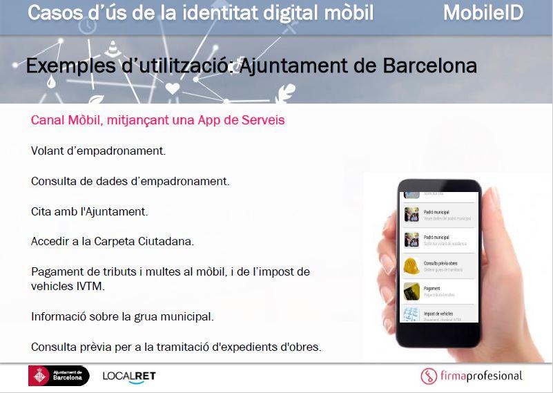 Exemple d'utilització de la identitat mobil per l'Ajuntament de Barcelona