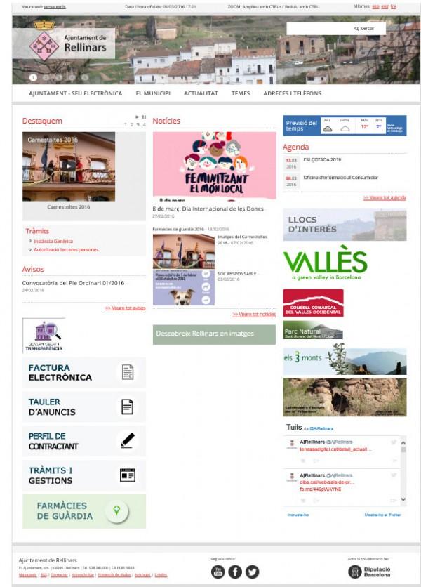 Captura de la nova web institucional de l'Ajuntament de Rellinars