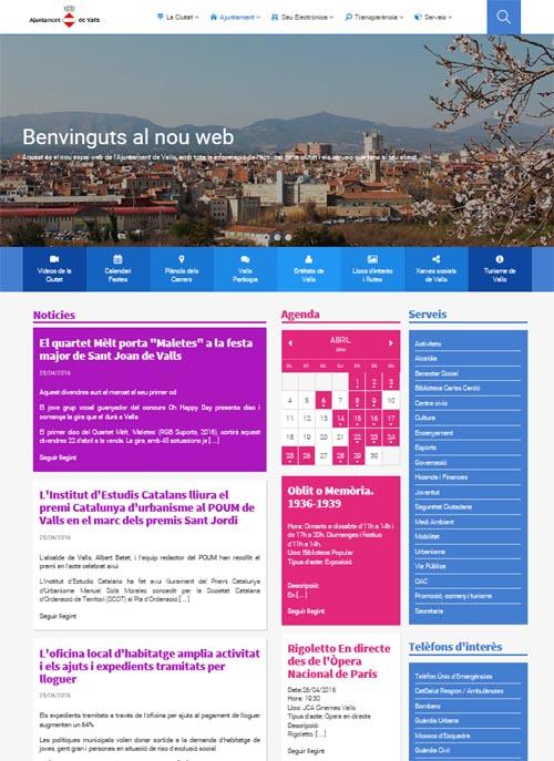 Captura de la nova imatge del web de l'Ajuntament de Valls