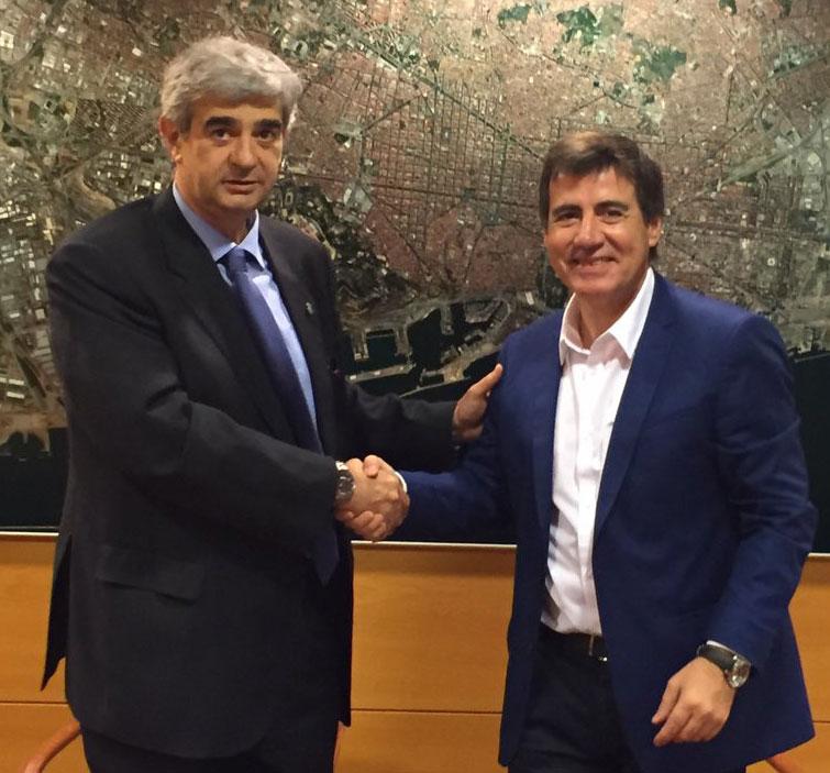 El president del Consell Comarcal del Barcelonès i el president de Localret a la signatura del conveni de col·laboració