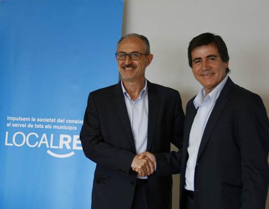 Josep Monràs, president de l'Associació Àmbit B30 amb el president del Consorci Localret, Xavier Fonollosa
