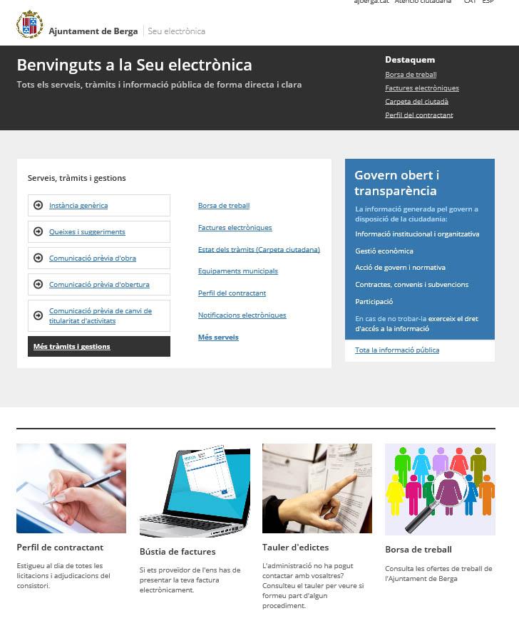 Imatge de la seu electrònica de l'Ajuntament de Berga