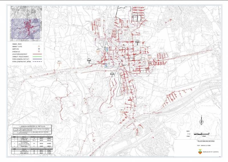 Plànol de la superposició de les xarxes municipals i Telefónica